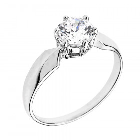 CZ Chevron Solitaire Engagement Ring in 9ct White Gold