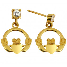 CZ Claddagh Earrings in 9ct Gold