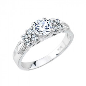 CZ Classic Diamond Band Engagement Ring in Sterling Silver