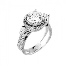 CZ Classic Halo Engagement Ring in 9ct White Gold