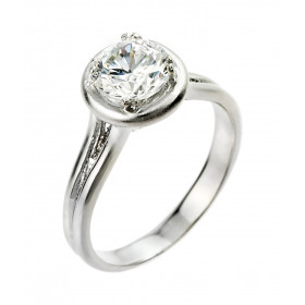 CZ Classic Solitaire Engagement Ring in Sterling Silver