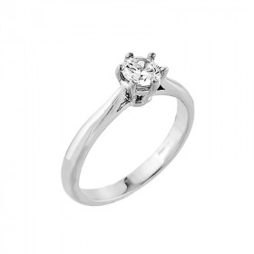CZ Classic Solitaire Engagement Ring in 9ct White Gold