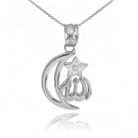 CZ Crescent Moon Allah Pendant Necklace in Sterling Silver