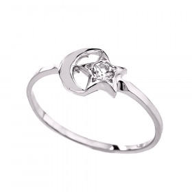 CZ Crescent Moonstar Ring in 9ct White Gold