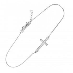 CZ Cross Bracelet in 9ct White Gold