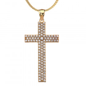 CZ Cross Pendant Necklace in 9ct Gold