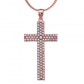 CZ Cross Pendant Necklace in 9ct Rose Gold