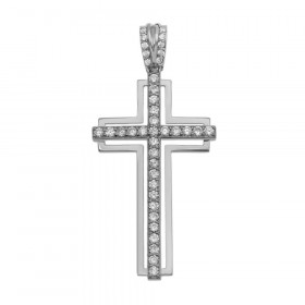 CZ Cross Pendant Necklace in 9ct White Gold