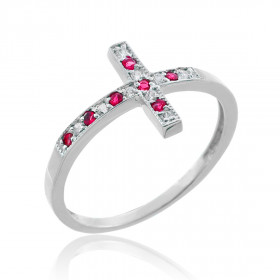 CZ Cross Ring in 9ct White Gold