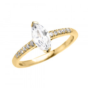 1.25ct CZ and Diamond Band Engagement Ring in 9ct Gold