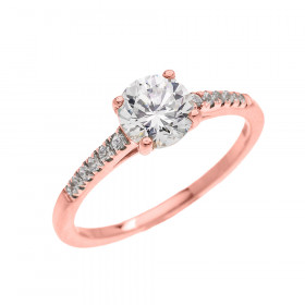 1.5ct CZ and Diamond Band Engagement Ring in 9ct Rose Gold