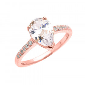 3.1ct CZ and Diamond Band Engagement Ring in 9ct Rose Gold