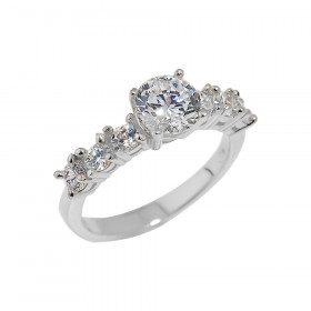 CZ Diamond Band Engagement Ring in Sterling Silver