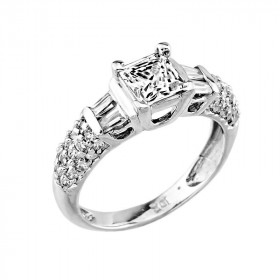 CZ Diamond Band Engagement Ring in 9ct White Gold