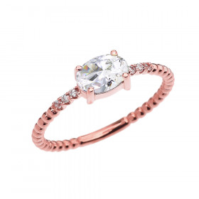 0.6ct CZ and Diamond Beaded Band Engagement Ring in 9ct Rose Gold