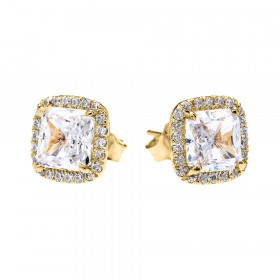 2.0ct CZ and Diamond Elegant Halo Stud Earrings in 9ct Gold