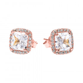 2.0ct CZ and Diamond Elegant Halo Stud Earrings in 9ct Rose Gold