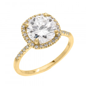 3.75ct CZ and Diamond Halo Engagement Ring in 9ct Gold