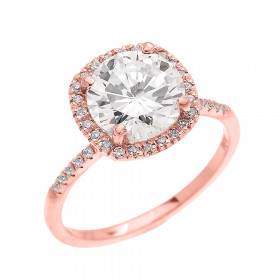 3.75ct CZ and Diamond Halo Engagement Ring in 9ct Rose Gold