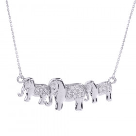 CZ Diamond Studded Three Elephant Pendant Necklace in Sterling Silver