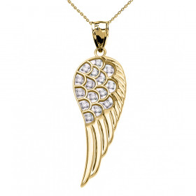 CZ Elegant Angel Wing Pendant Necklace in 9ct Gold