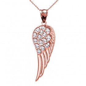 CZ Elegant Angel Wing Pendant Necklace in 9ct Rose Gold