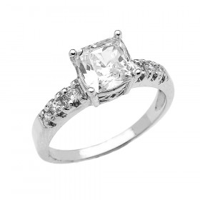 CZ Elegant Diamond Band Engagement Ring in 9ct White Gold