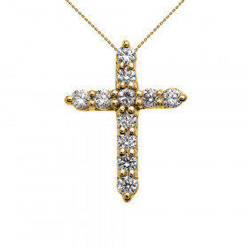 CZ Elegant Extra Small Cross Pendant Necklace in 9ct Gold