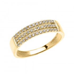 CZ Elegant Micro-Pave Modern Half Eternity Wedding Ring in 9ct Gold