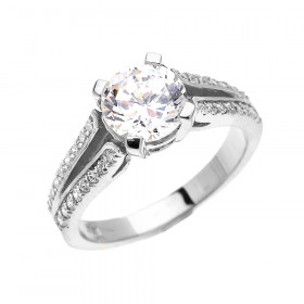 CZ Elegant Modern Diamond Band Engagement Ring in 9ct White Gold