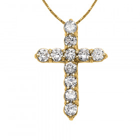 CZ Elegant Small Cross Pendant Necklace in 9ct Gold