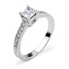 CZ Elegant Solitaire Engagement Ring in 9ct White Gold