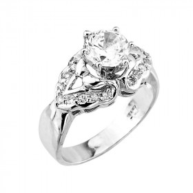 CZ Elegant Vintage Engagement Ring in Sterling Silver
