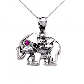 CZ Elephant Pendant Necklace in Sterling Silver