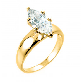 CZ Engagement Ring in 9ct Gold