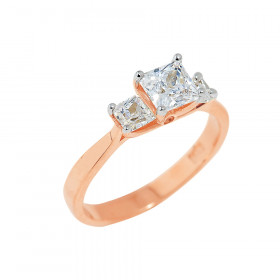 CZ Engagement Ring in 9ct Rose Gold