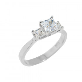 CZ Engagement Ring in Sterling Silver