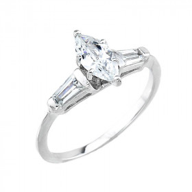 CZ Engagement Ring in 9ct White Gold