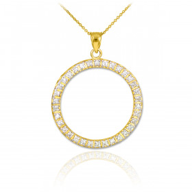 CZ Eternity Circle of Life Pendant Necklace in 9ct Gold