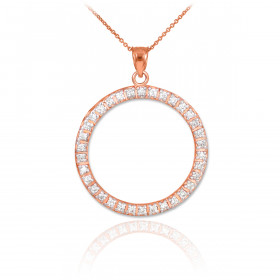 CZ Eternity Circle of Life Pendant Necklace in 9ct Rose Gold