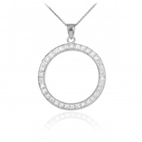 CZ Eternity Circle of Life Pendant Necklace in 9ct White Gold