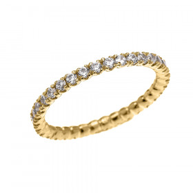 CZ Eternity Wedding Ring in 9ct Gold