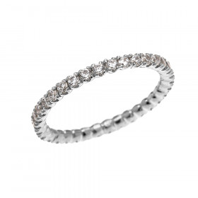 CZ Eternity Eternity Wedding Ring in 9ct White Gold