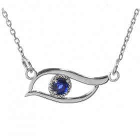 CZ Evil Eye Pendant Necklace in 9ct White Gold