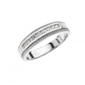 CZ Half Eternity Wedding Ring in 9ct White Gold