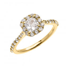 CZ Halo Engagement Ring in 9ct Gold