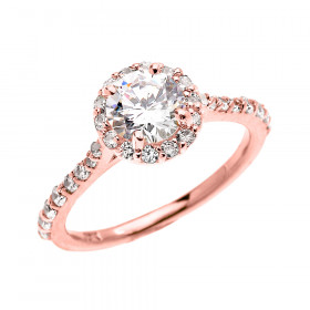 CZ Halo Engagement Ring in 9ct Rose Gold