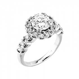 CZ Halo Engagement Ring in 9ct White Gold