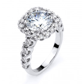 CZ Halo Vintage Engagement Ring in Sterling Silver