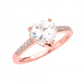 CZ Heart Diamond Band Engagement Ring in 9ct Rose Gold